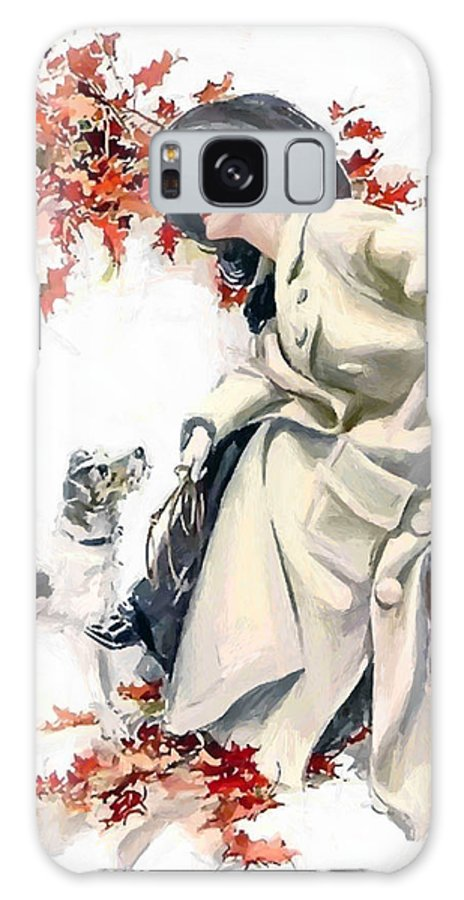 Lady Woman Dog Leaves Leaf Tree Autumn Red Hat Portrait Expressionism Painting Vintage Galaxy S8 Case featuring the painting Lady With Dog by Steve K