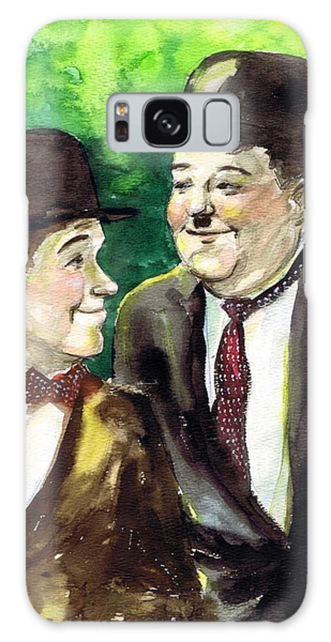 Nostalgia Galaxy S8 Case featuring the drawing Laurel And Hardy by Mel Thompson