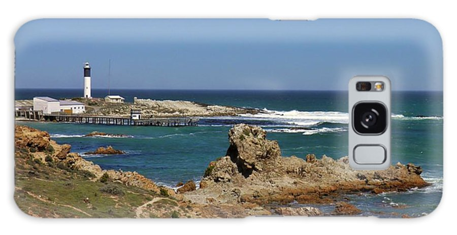 Lighhouse; West Coast; South Africa; Landscape; Atlantic Ocean; Harbor; Little; Sky; Background; Rocks; Water; Boats; White; Black; Namaqualand; Plants; Grass; Green; Galaxy S8 Case featuring the photograph Lighthouse by Werner Lehmann