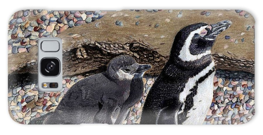 Art+prints Galaxy S8 Case featuring the painting Looking Out For You - Penguins by Patricia Barmatz
