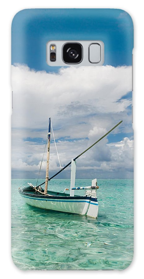 Maldives Galaxy S8 Case featuring the photograph Maldivian Boat Dhoni On The Peaceful Water Of The Blue Lagoon by Jenny Rainbow
