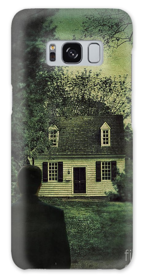 Man Galaxy S8 Case featuring the photograph Man In Front Of Cottage by Jill Battaglia