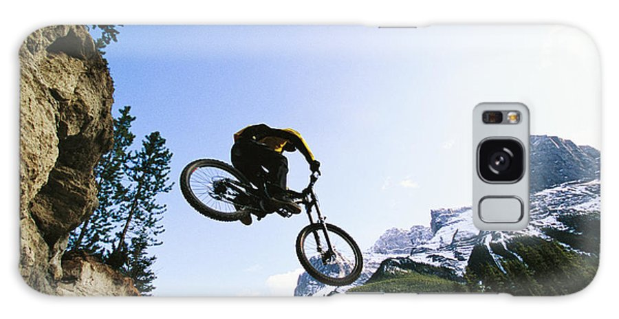 North America Galaxy S8 Case featuring the photograph Man Jumping On His Mountain Bike by Mark Cosslett