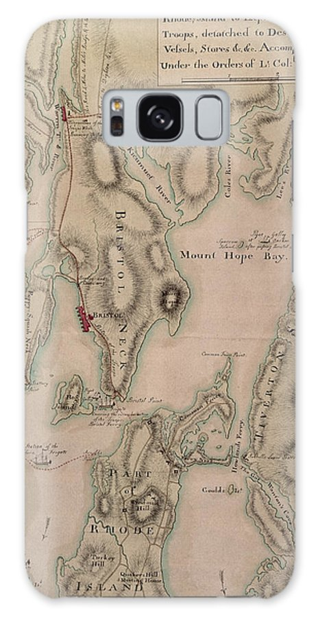 Maps Galaxy S8 Case featuring the drawing Military Plan Of The North Part Of Rhode Island by English School