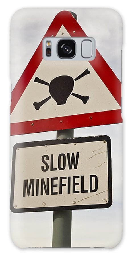 00479610 Galaxy S8 Case featuring the photograph Minefield Road Sign Falkland Islands by Colin Monteath