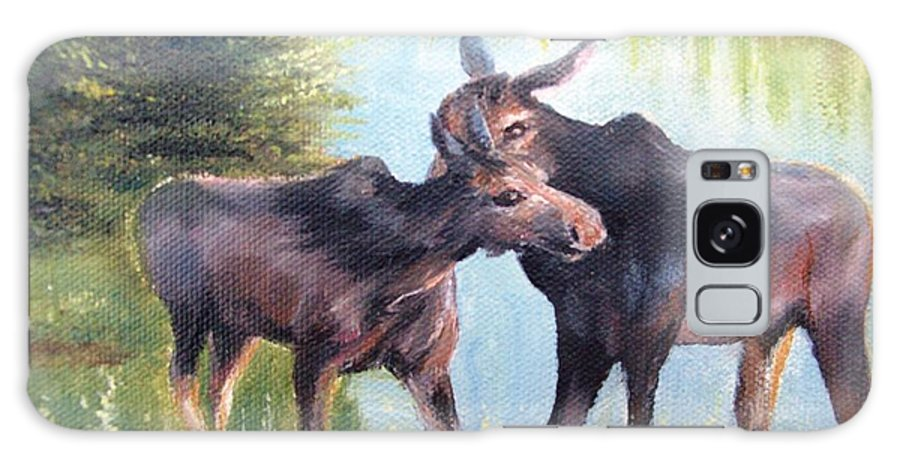 Landscape Galaxy S8 Case featuring the painting Moose Secrets by Patti Gordon