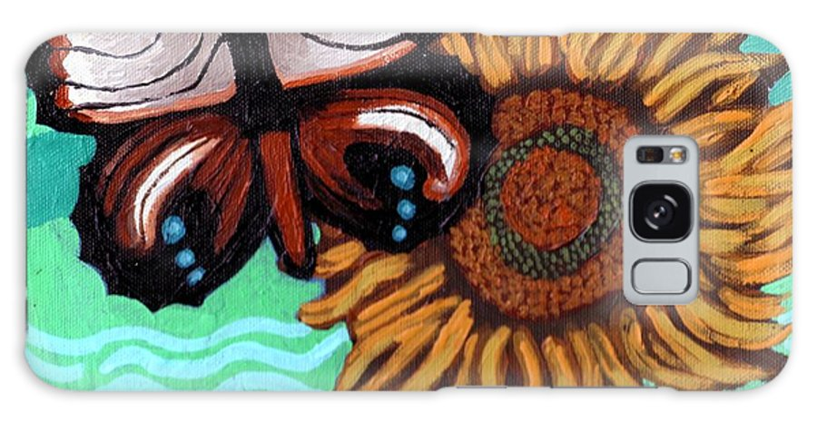 Butterfly Galaxy S8 Case featuring the painting Moth And Sunflower by Genevieve Esson