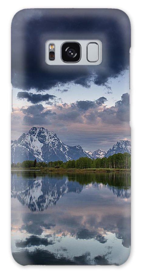 Grand Tetons National Park Galaxy S8 Case featuring the photograph Mount Moran Under Black Cloud by Greg Nyquist