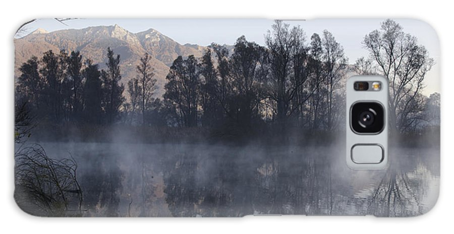 Lake Galaxy S8 Case featuring the photograph Mountain And Trees Reflected In A Foggy Lake by Mats Silvan