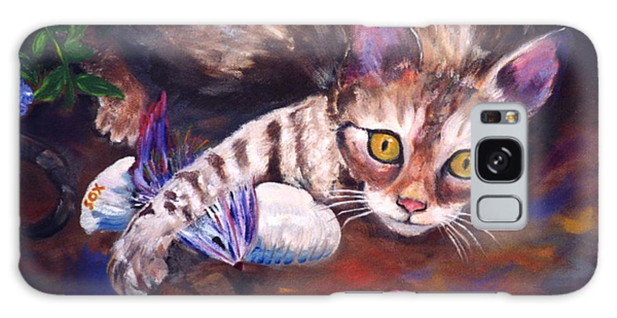 .bengal Cat Galaxy S8 Case featuring the painting My Toys by Phyllis Kaltenbach