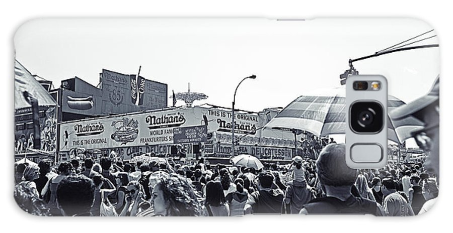 Nathans Galaxy S8 Case featuring the photograph Nathan's Crowd In Coney Island 1 by Madeline Ellis