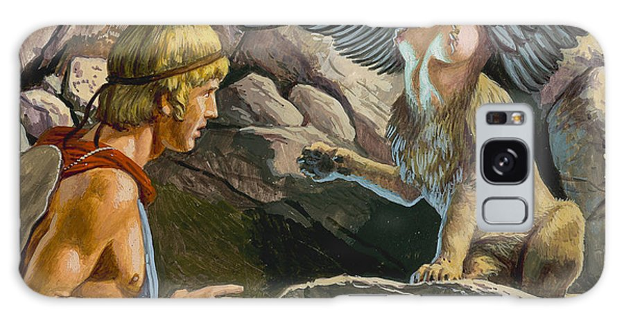 Thebes; Thebans; Lion; Beauty; Greek Legend; Mythology; Greece; Ancient Greece; Confrontation; Male; Thinking; Pensive; Creature; Riddle; Oedipe Galaxy S8 Case featuring the painting Oedipus Encountering The Sphinx by Roger Payne
