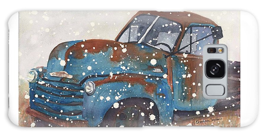 Snow Truck Galaxy S8 Case featuring the painting Old Blue Chevy Winter Storm by CheyAnne Sexton