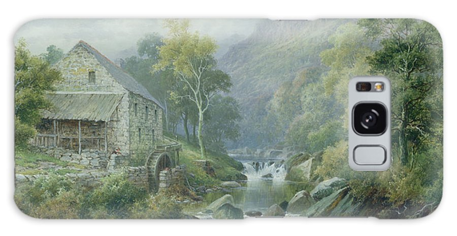 River; Wnion; Watermill; Wheel; Landscape; Mountains; Rocks; Dolgellau Galaxy S8 Case featuring the painting Old Disused Mill Dolgelly by William Henry Mander