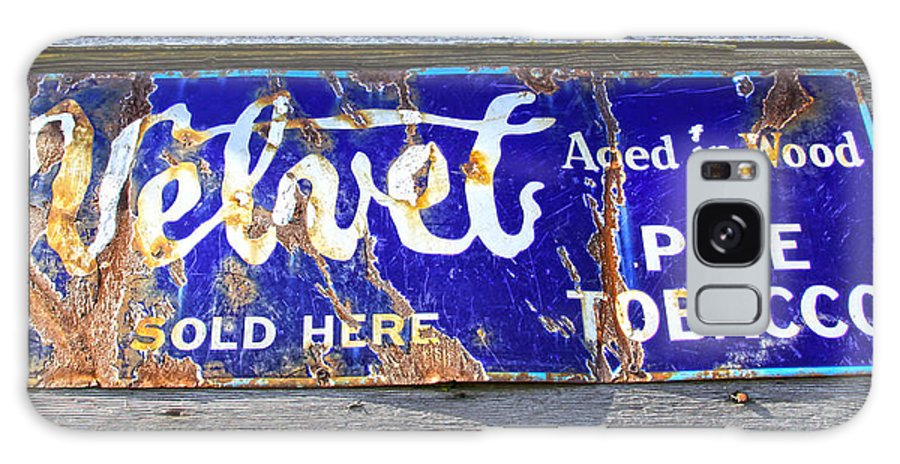 Velvet Pipe Tobacco Galaxy S8 Case featuring the photograph Old Pipe Tobacco Sign On Barn Wood by Steve McKinzie