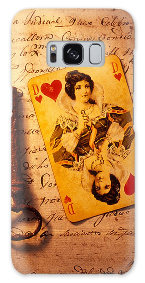 Playing Galaxy S8 Case featuring the photograph Old Playing Card And Key by Garry Gay