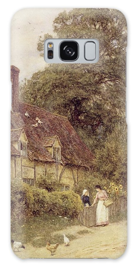 Cottage; Friends; Gate; Rural Scene; Country; Countryside; Path; Sunflowers; Wildflowers; Chickens; Picturesque; Idyllic; Timber Frame; Half-timbered; Female Galaxy S8 Case featuring the painting Old Post Office Brook Near Witley Surrey by Helen Allingham