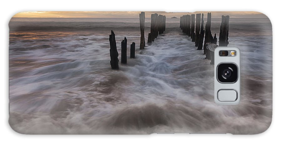 00498868 Galaxy S8 Case featuring the photograph Old Wharf At Sunrise Saint Clair Beach by Colin Monteath