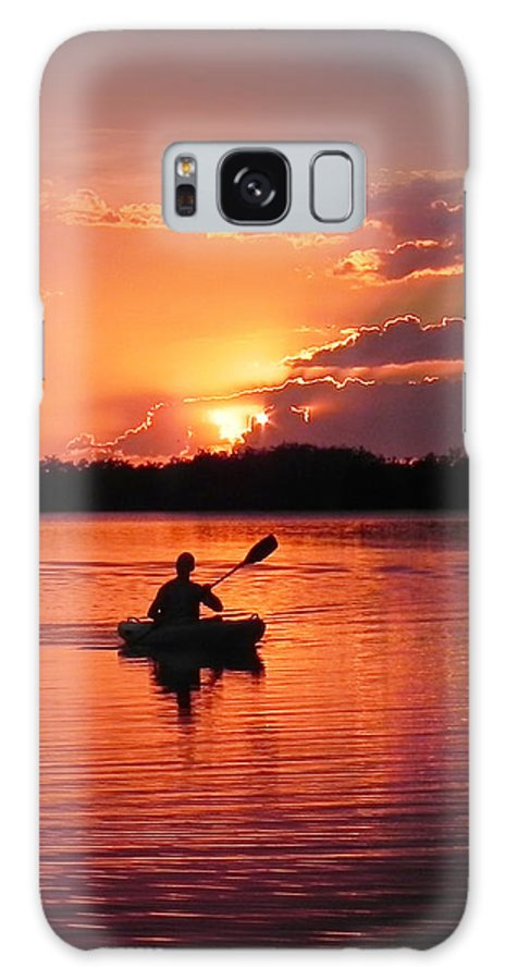 Canoe; Kayak; Sunset; Twilight; Evening; Lake; Lagoon; River; Water; Reflection; Reflecting; Wake Galaxy S8 Case featuring the photograph Paddle To Home by Francesa Miller