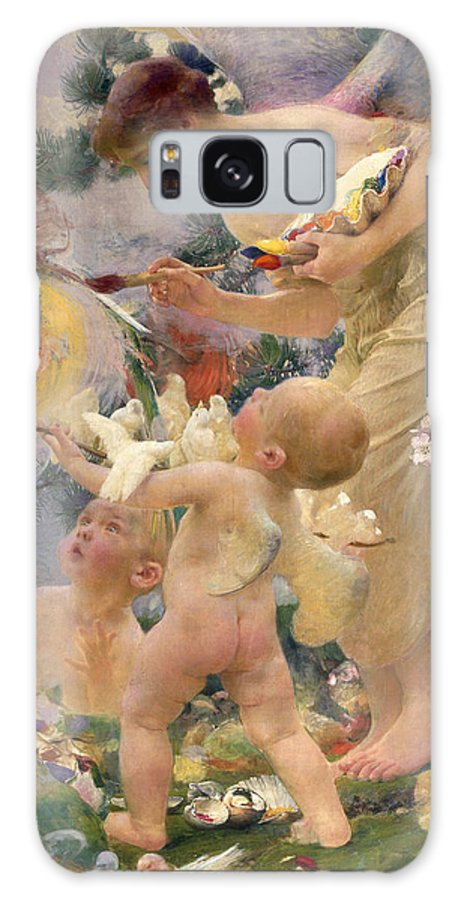 Bird; Female; Winged Putto; Paintbrush; Palette; Child; Angel; Creation Galaxy S8 Case featuring the painting Painting The Birds by Franz Dvorak