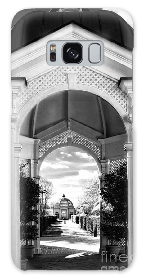 Botanical Garden Galaxy S8 Case featuring the digital art Peeking In The Garden In Black And White by Kathleen K Parker