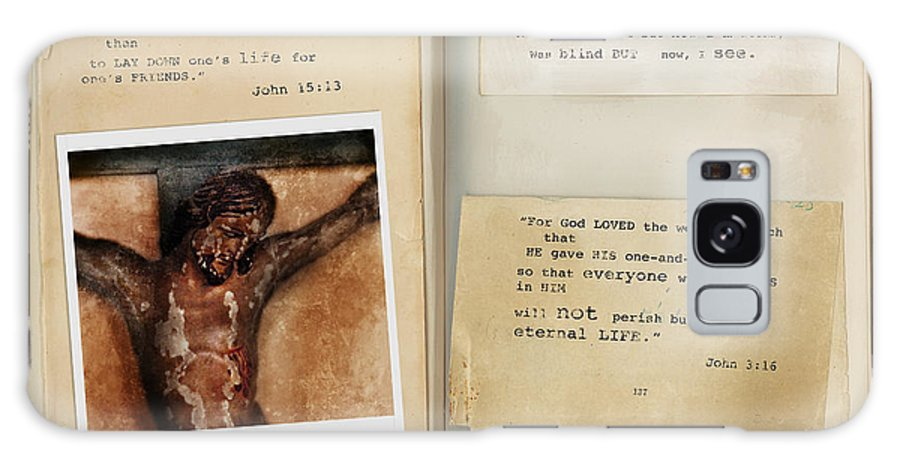 Bible Verse Galaxy S8 Case featuring the photograph Photo Of Crucifix With Bible Verses. by Jill Battaglia