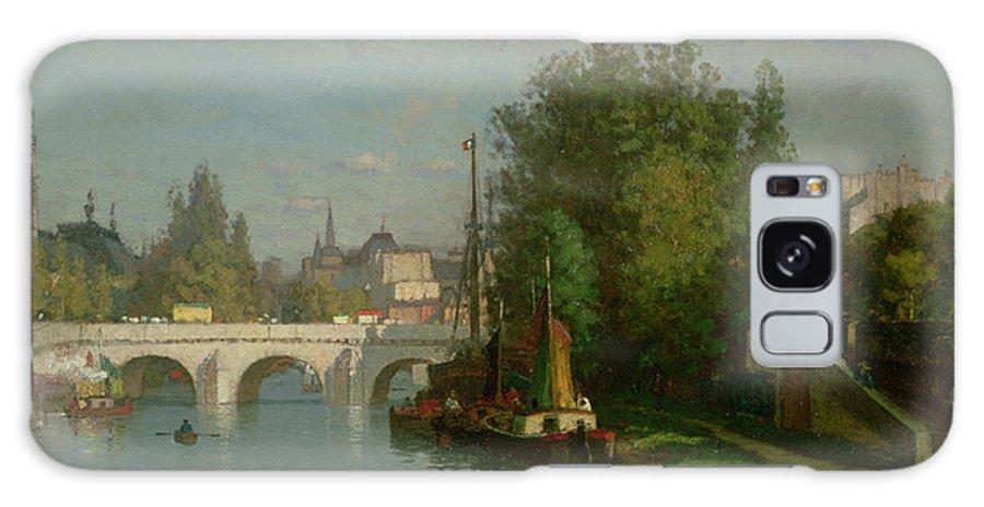 Bridge; Boat; Rowing; River; Paris Galaxy S8 Case featuring the painting Pont Du Carrousel by JJ Enneking