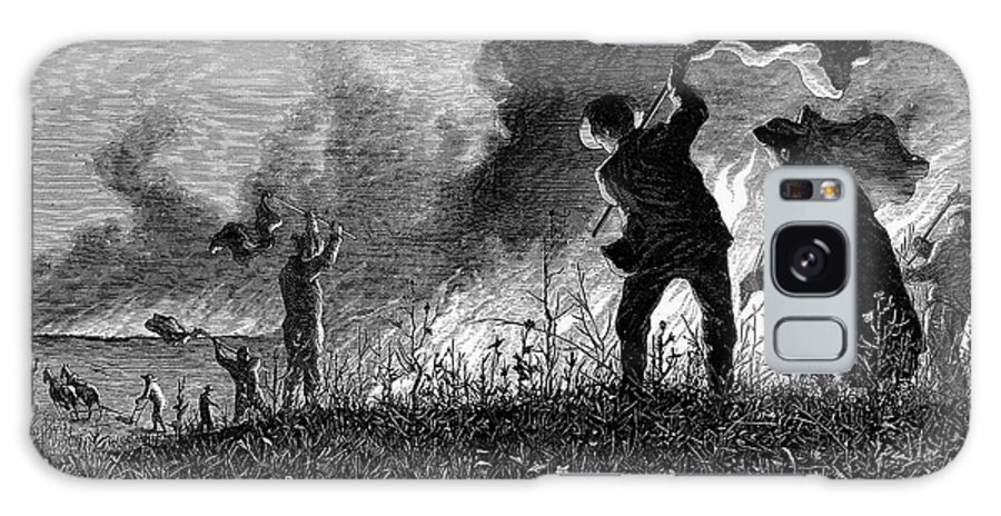 1874 Galaxy S8 Case featuring the photograph Prairie Fire, 1874 by Granger