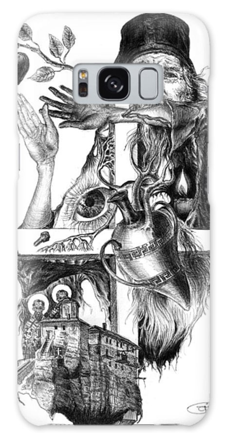 Black And White Galaxy S8 Case featuring the drawing Pray Of The Meteora's Monk by Rimbu Iulian