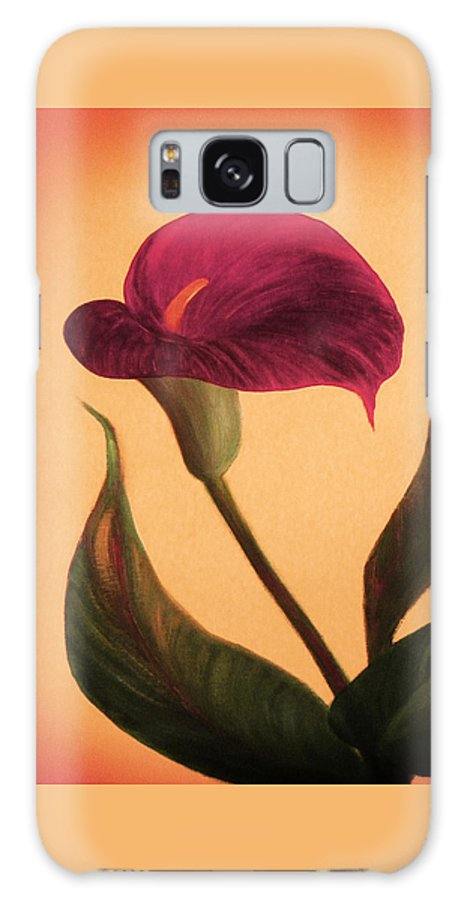 Flower Galaxy S8 Case featuring the painting Purple Calla Lily - Square Painting by Gina De Gorna