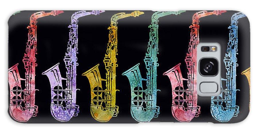 Sax Galaxy S8 Case featuring the digital art Rainbow Saxophones by Jenny Armitage