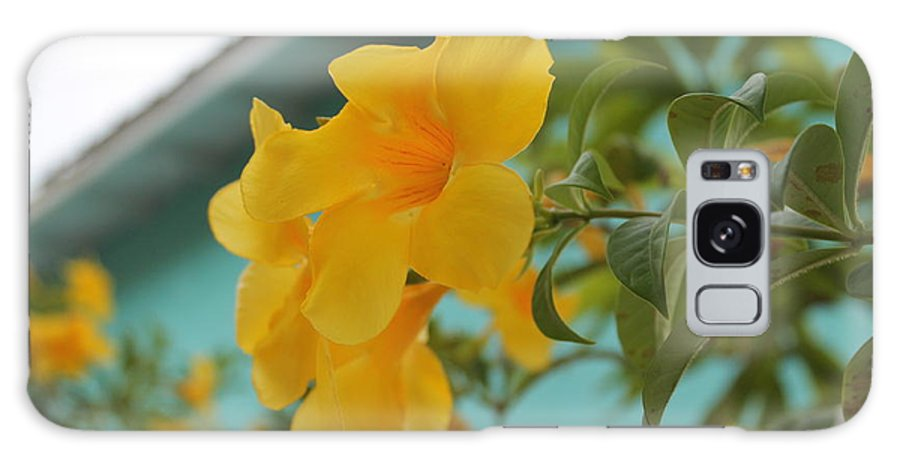 Yellow Tropical Flower Galaxy S8 Case featuring the photograph Reaching Out by Catie Canetti