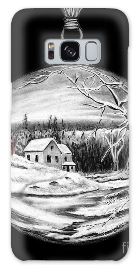 Red Barn Galaxy S8 Case featuring the drawing Red Barn Winter Scene Ornament by Peter Piatt