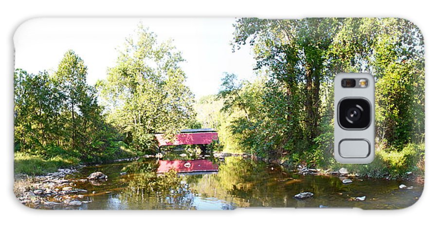 Fairhill Red Covered Bridge Scenic Summer Water Rocks Reflectons Galaxy S8 Case featuring the photograph Red Covered Bridge by Alice Gipson