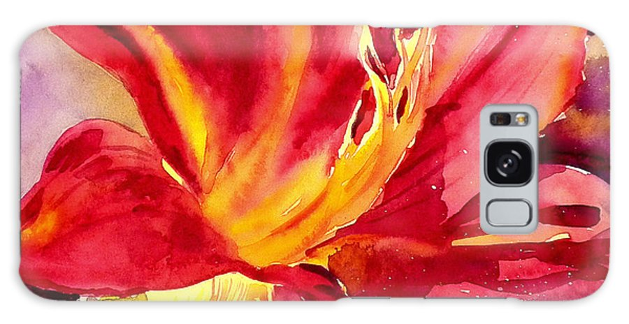 Red Day Lily Galaxy S8 Case featuring the painting Red Day Lily by Ruth Harris