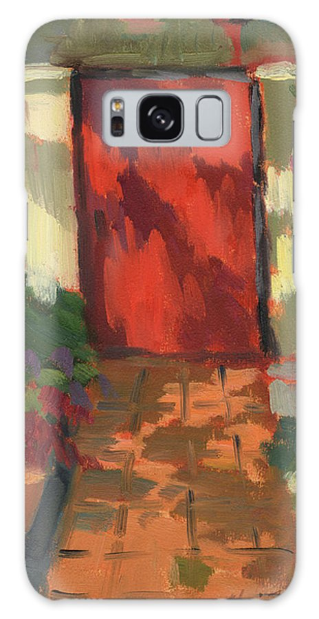 Red Door Galaxy S8 Case featuring the painting Red Door - Shadow And Light by Diane McClary