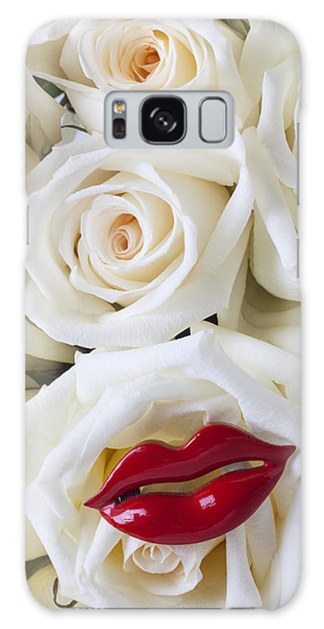 Red Lips Galaxy S8 Case featuring the photograph Red Lips And White Roses by Garry Gay