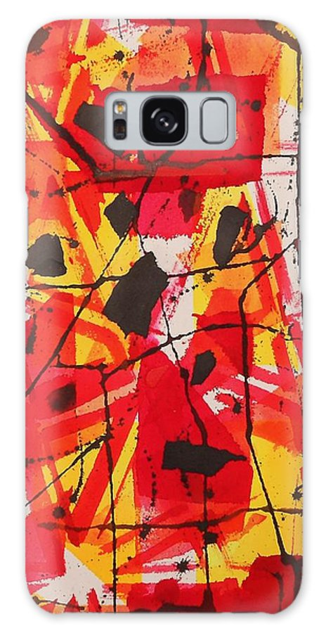 Abstract Galaxy S8 Case featuring the painting Red Orange Abstract by Jamie Frier
