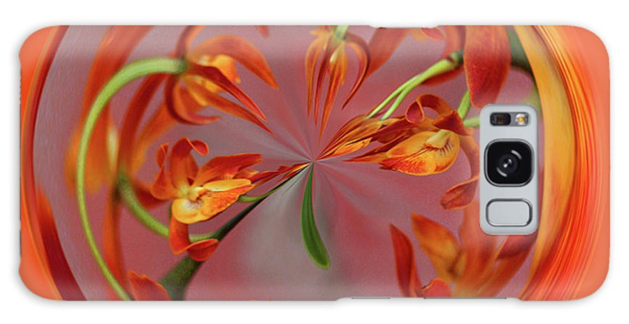 Red Galaxy S8 Case featuring the photograph Red Orange Orchid Orb by Bill Barber