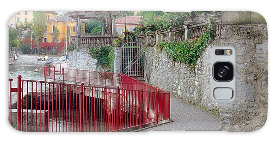 Varenna Galaxy S8 Case featuring the photograph Red Rail Walkway To Varenna Along Lake Como by Greg Matchick