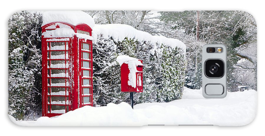 Christmas Galaxy S8 Case featuring the photograph Red Telephone And Post Box In The Snow by Richard Thomas