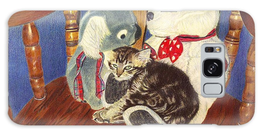Cat Galaxy S8 Case featuring the painting Rocking With Friends - Kitten And Stuffed Animals Painting by Patricia Barmatz