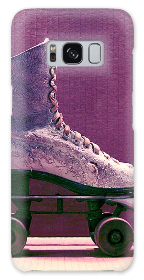 Skate Purple Green Wheels Vintage Cracking Rolling 4 Wheels Laces Boot Shoe White Brake Worn Weathered Beautiful Galaxy S8 Case featuring the photograph Rollerskate by Gabe Arroyo