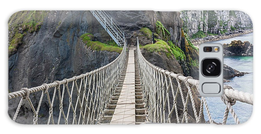 Bridge Galaxy S8 Case featuring the photograph Rope Bridge At Carrick-a-rede In Northern Island by Semmick Photo