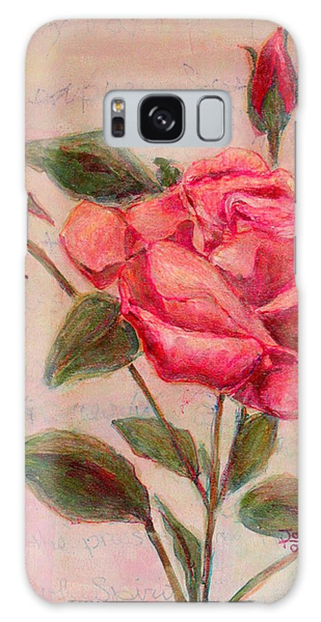 Red Rose Galaxy S8 Case featuring the painting Rose Of Love And Romance by Joi Sampsell