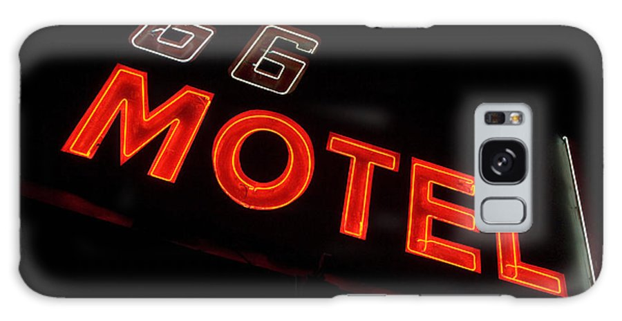 Classic Car Galaxy S8 Case featuring the photograph Route 66 Motel Neon by Bob Christopher