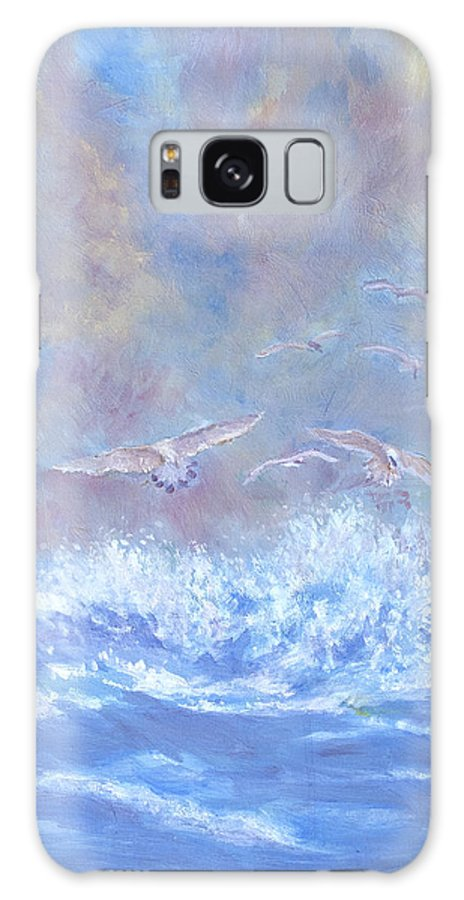 Seascape Galaxy Case featuring the painting Seagulls at Play by Ben Kiger