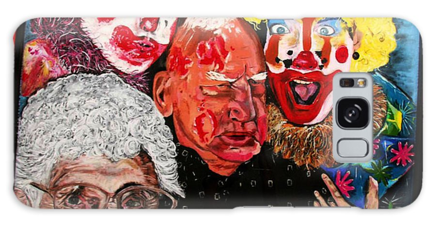 Old People Galaxy S8 Case featuring the painting Send In The Clowns by Karen Elzinga