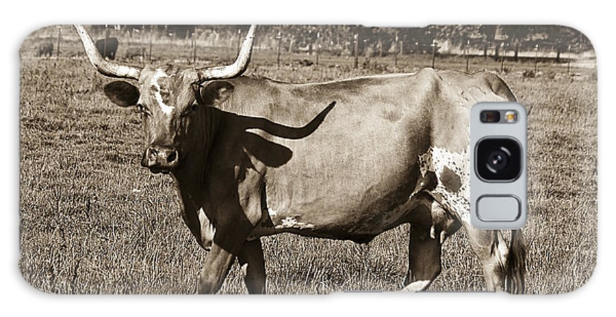 Sepia Galaxy S8 Case featuring the photograph Sepia Longhorn Cow by Jim And Emily Bush