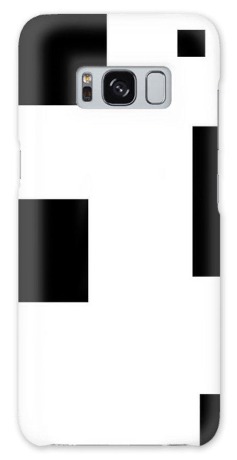 Black White Abstract Block Blocks Contrast Expressionism Impressionism Art Galaxy S8 Case featuring the digital art Simply Black Blocks Sbb by Steve K